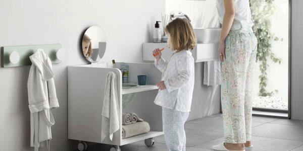 Mueble higiene Montessori kids 12i-0001 color blanco vista completa