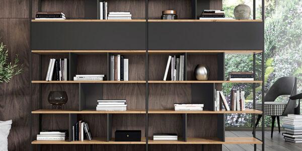 Mueble auxiliar librería 13c-0001 lacado negro con madera vista frontal