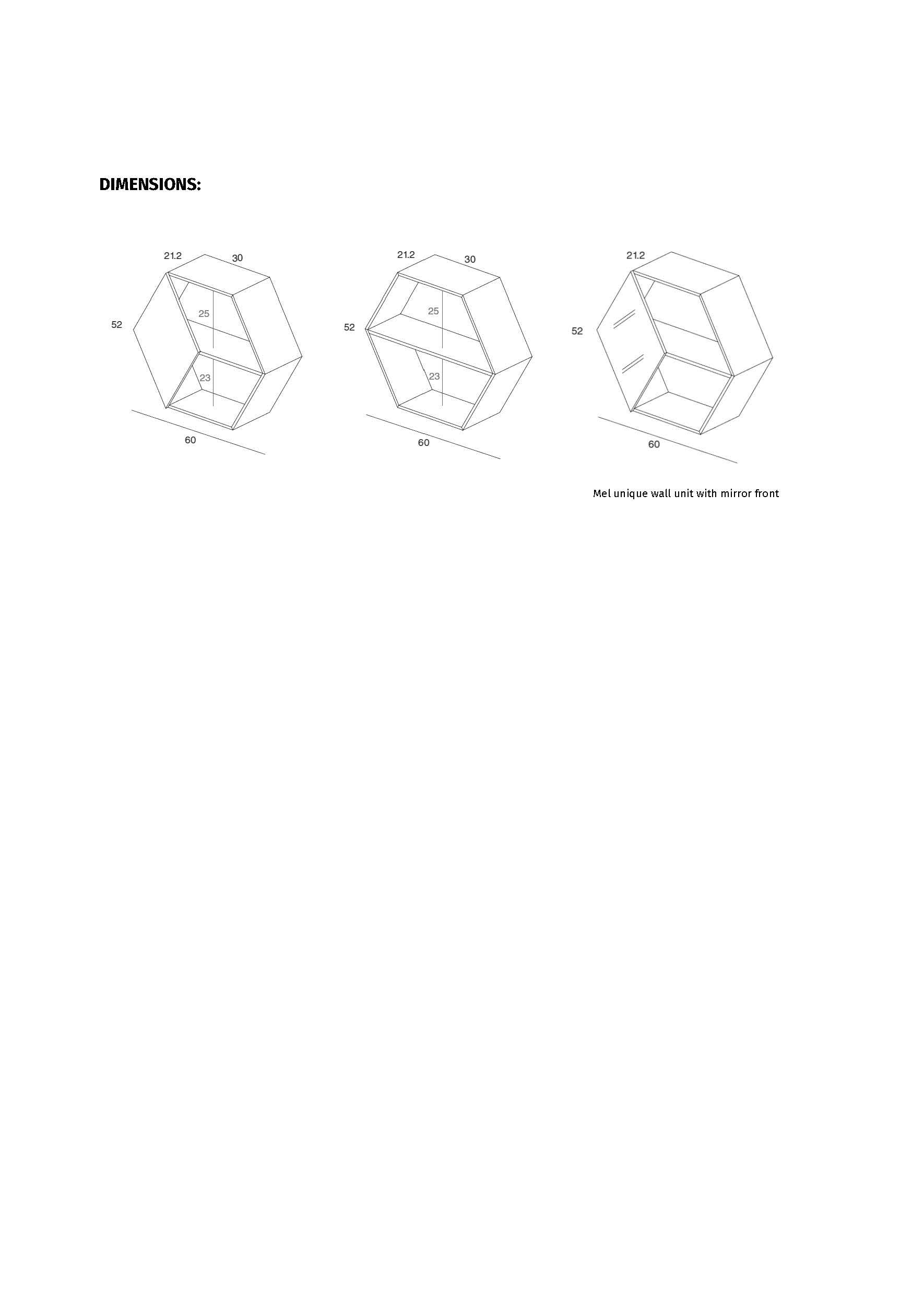 Medidas y acabados módulo estantería