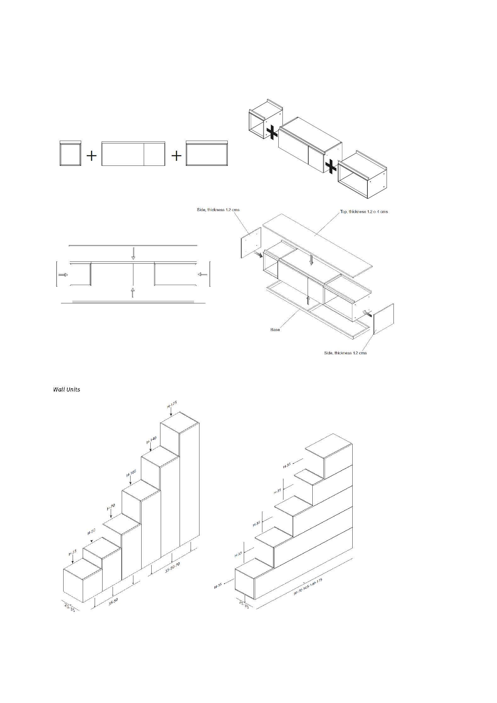 Medidas y datos técnicos composición modular de salón