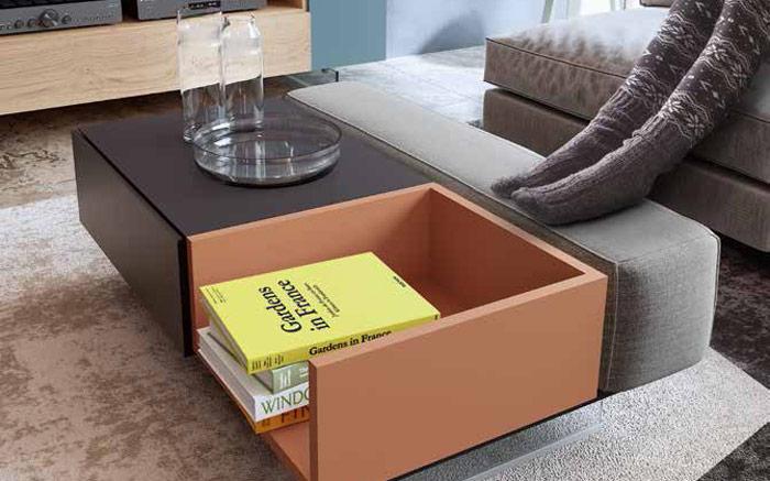 Mesa de centro con cojín cajón y bandeja 14e-0001 color roble y montana gris vista completa