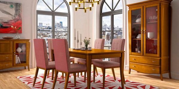 Mesas y sillas de salón 14d-0001 acabado miel y patinado coral