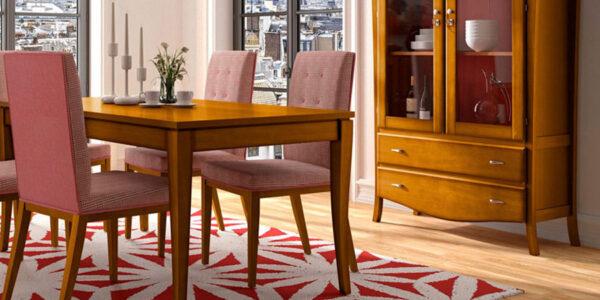 Mesas y sillas de salón 14d-0001 acabado miel y patinado coral detalle
