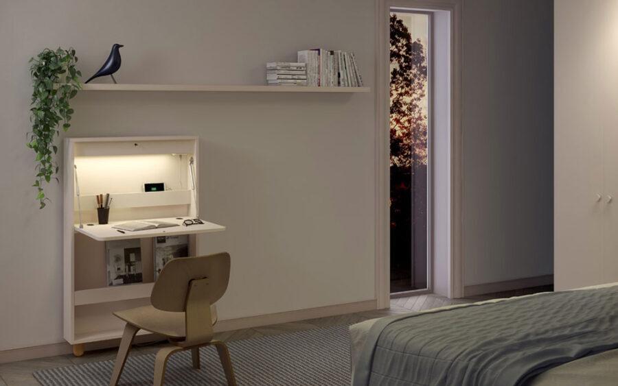 Mueble de dormitorio abatible 13a-0001 color beige vista abierto