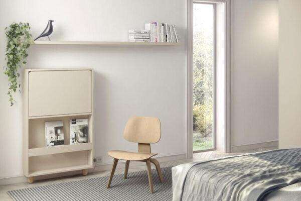 Mueble-escritorio de dormitorio abatible 13a-0001 color beige vista cerrado