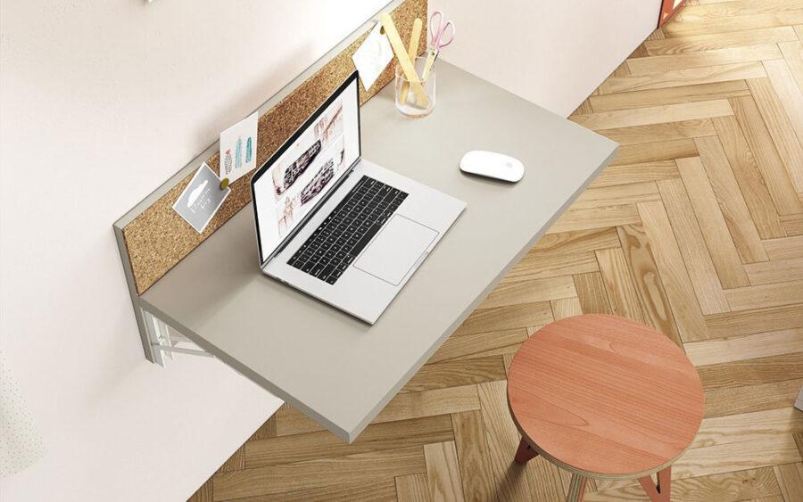 Mueble de escritorio abatible 13a-0001 color beige vista general abierto