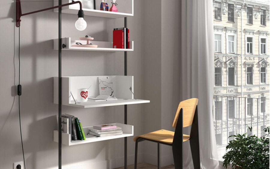 Mueble escritorio abatible 13a-0001 color blanco y negro vista general abierto