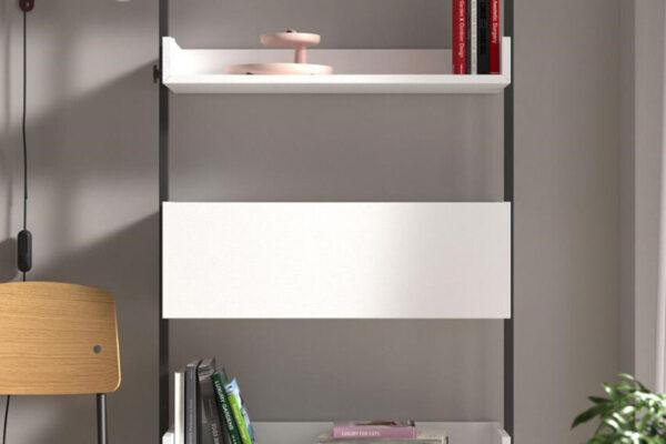 Mueble escritorio abatible 13a-0001 color blanco y negro vista frontal cerrado