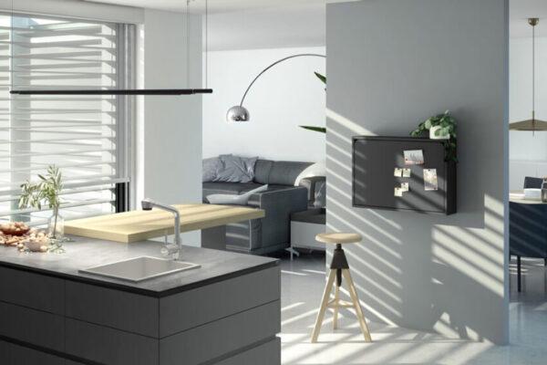 Mueble de cocina escritorio abatible 13a-0001 color negro vista general cerrado
