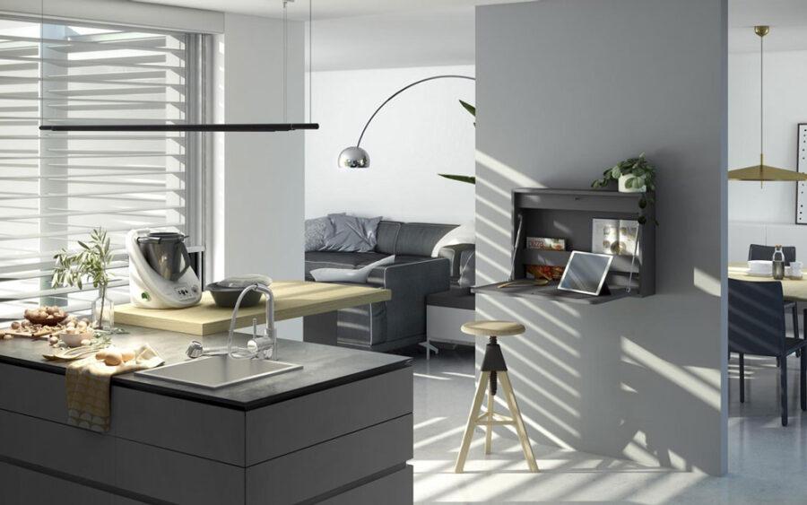 Mueble de cocina escritorio abatible 13a-0001 color negro vista abierto