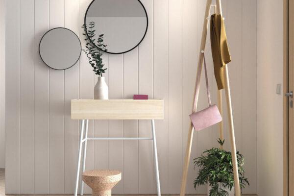 Mueble de recibidor abatible 13a-0001 color blanco y madera vista frontal cerrado