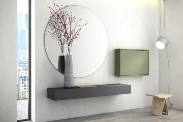 Mueble recibidor abatible 13a-0001 color verde vista general cerrado