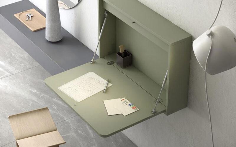 Mueble recibidor abatible 13a-0001 color verde vista de detalle abierto