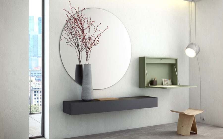 Mueble recibidor abatible 13a-0001 color verde vista abierto