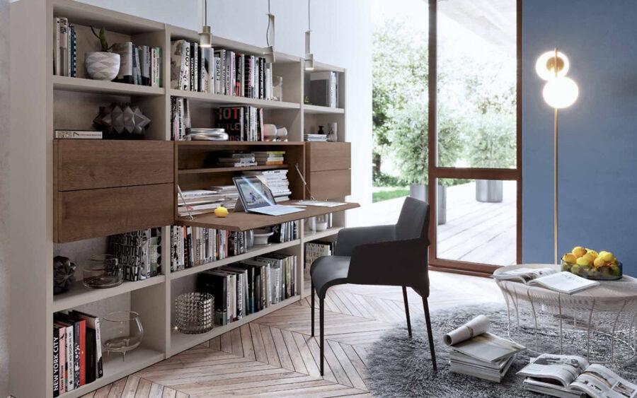 Mueble de salón con escritorio abatible 13a-0001 color beige y roble vista general abierto