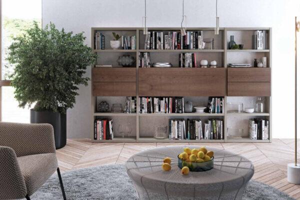 Mueble de salón con escritorio abatible 13a-0001 color beige y roble vista frontal