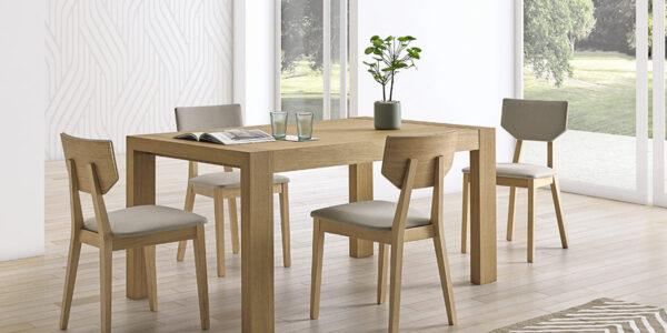 Sillas y mesa de comedor 14f-0001 madera natural vista ambiente