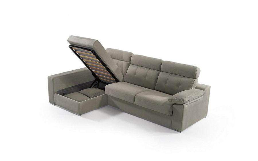 Sofá cama chaiselongue 10e-0001 color gris vista detalle de asiento arcón