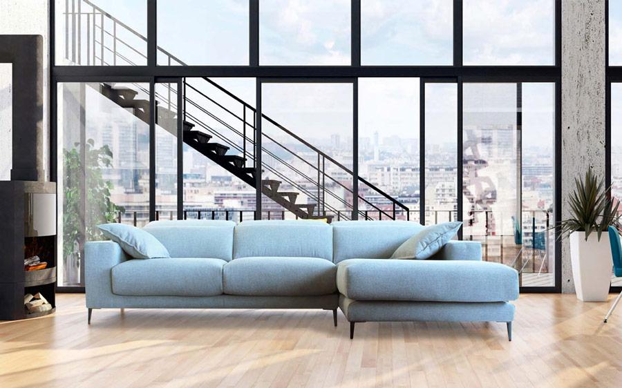 Sofá chaiselongue con asientos deslizantes 10b-0001 color azul vista ambiente