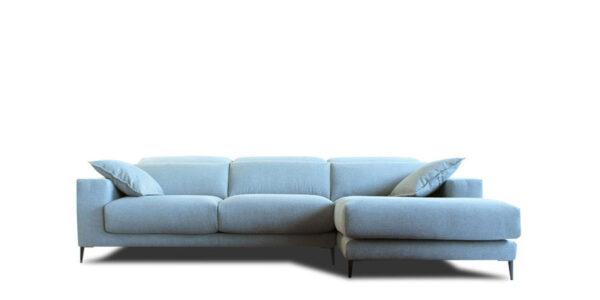 Sofá chaiselongue con asientos deslizantes 10b-0001 color azul vista técnica frontal