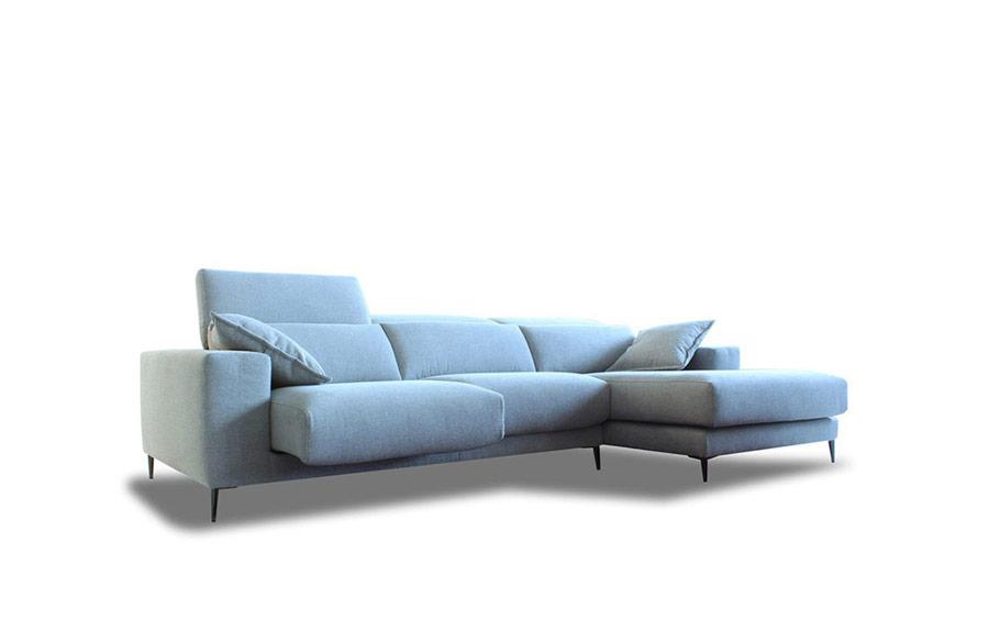 Sofá chaiselongue con asientos deslizantes 10b-0001 color azul vista técnica en perspectiva