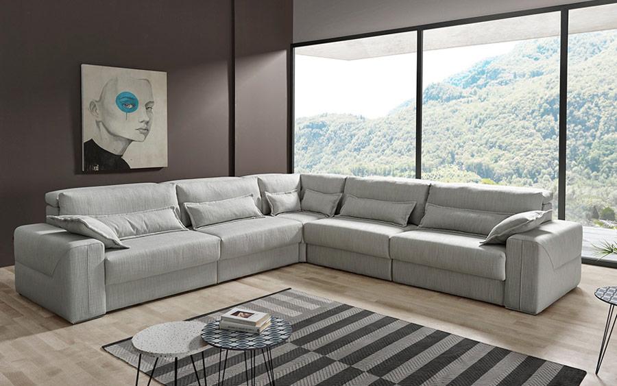 Sofá rinconera deslizante 10e-0007 color gris vista ambiente frontal