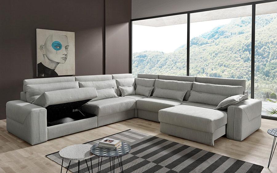 Sofá rinconera deslizante 10e-0007 color gris vista detalle abierto