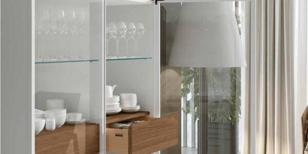 Vitrina doble de salón 14c-0001 color blanco y madera vista completa
