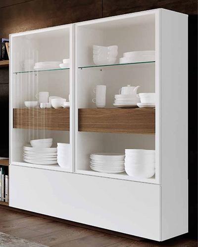 Vitrina doble de salón 14c-0001 color blanco y madera vista cerrada derecha