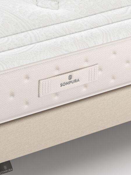 Colchón con muelles ensacados 16a-0001 blanco y beige vista de detalle