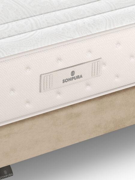 Colchón con muelles ensacados 16a-0003 blanco y marrón vista de detalle