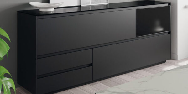 Aparador de salón 14c-0010 color negro vista de detalle