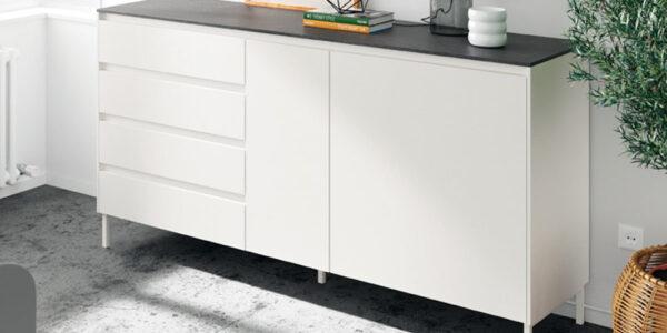 Aparador de salón 14c-0011 color negro y blanco vista de detalle