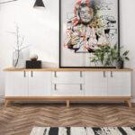 Aparador de salón 14c-0015 madera y blanco vista ambiente