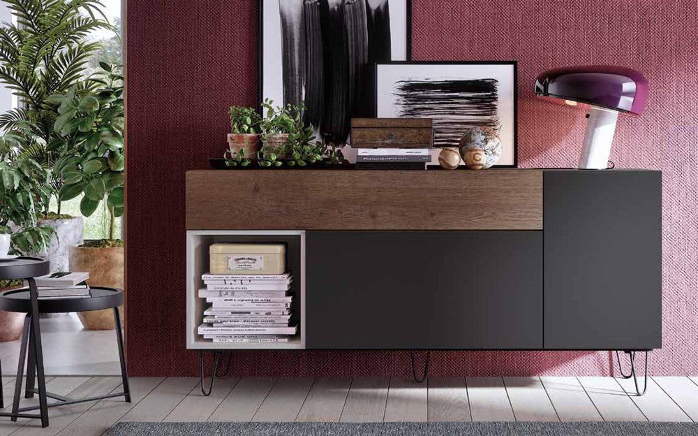 Aparador de salón 14c-0005 color negro beige y madera vista de ambiente