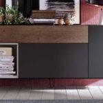 Aparador de salón 14c-0005 color negro beige y madera vista de detalle
