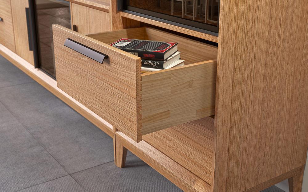Cajón de aparador de salón 14c-0018 madera vista de detalle