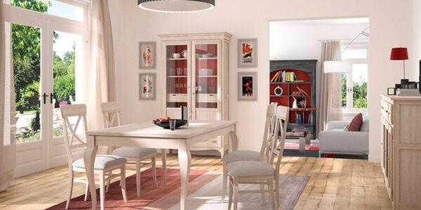 Aparador y vitrina de salón 14c-0012 beige y madera vista ambiente