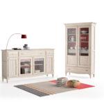 Aparador y vitrina de salón 14c-0012 beige y madera vista técnica