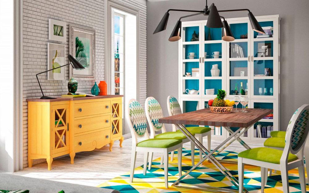 Aparador y vitrina de salón 14c-0013 amarillo y blanco vista ambiente