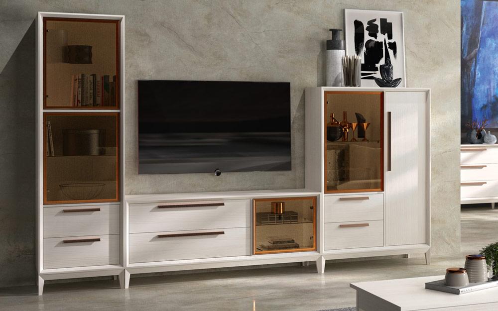 Aparador y vitrina de salón 14c-0019 color blanco vista de detalle