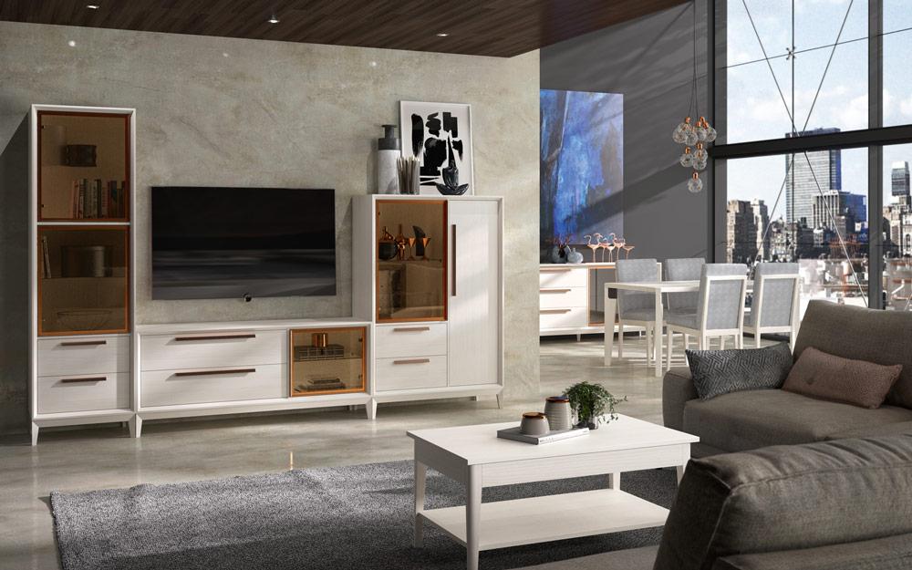 Aparador y vitrina de salón 14c-0019 color blanco vista de ambiente