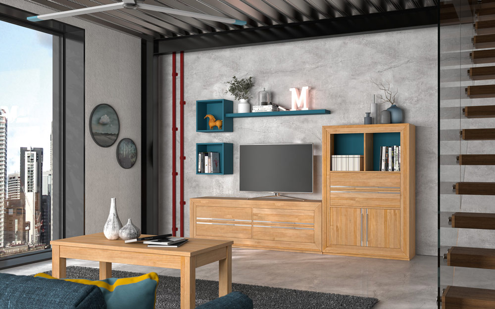 Aparador de salón 14c-0022 madera vista de ambiente