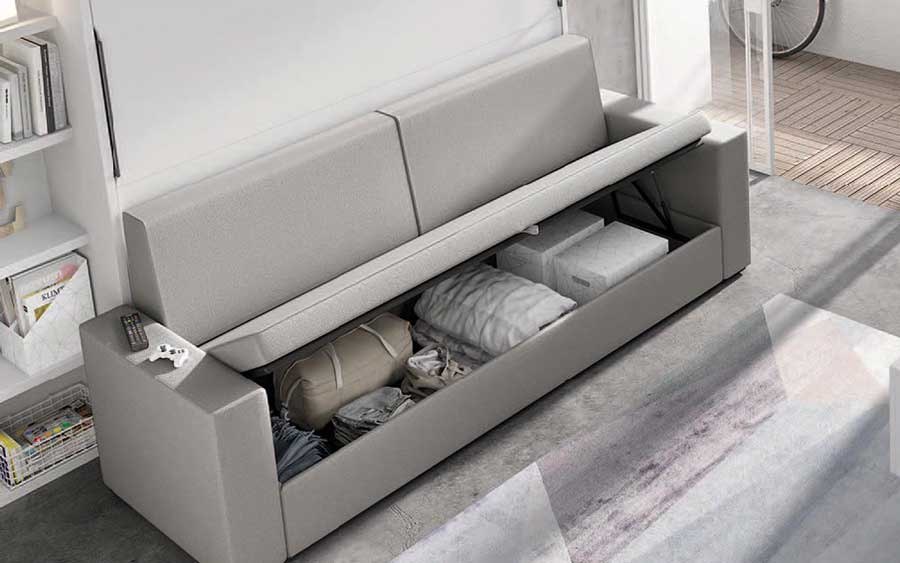 Dormitorio juvenil con cama abatible horizontal alta 12d-0007 color blanco vista de detalle