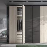 Armario de dormitorio matrimonio con puertas abatibles 11b-0002 en madera beige y gris