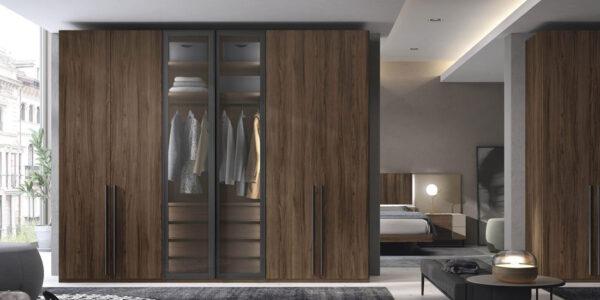 Armario de dormitorio matrimonio con puertas abatibles 11b-0002 madera veteada y cristal