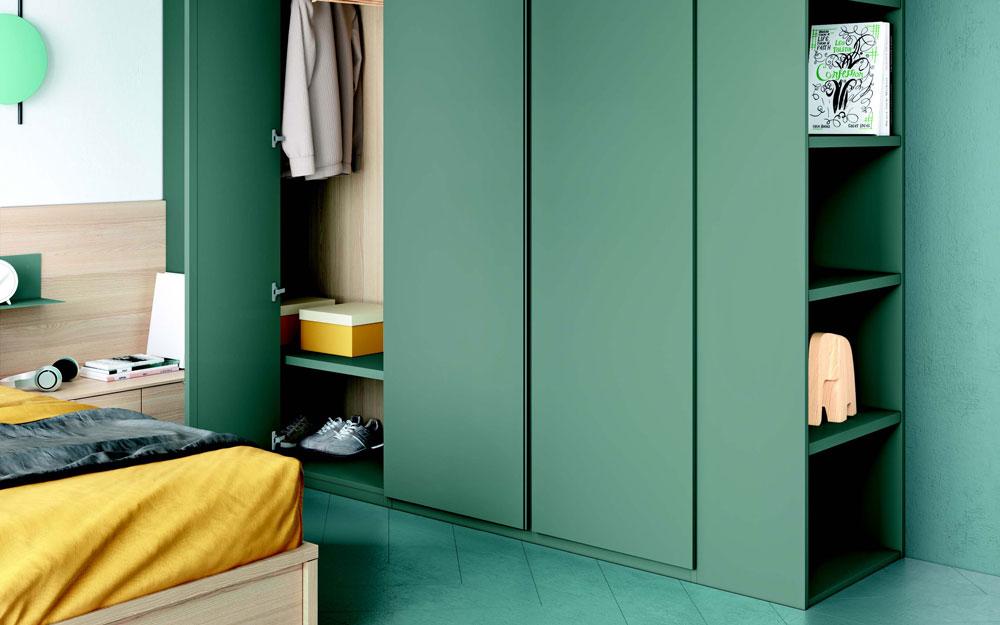 Armario de dormitorio juvenil12f-0009 color verde y madera vista de detalle