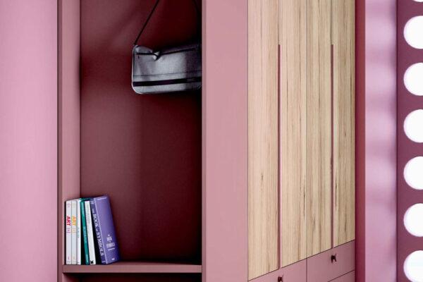 Armario de dormitorio juvenil 12f-0008 color rosa y madera vista de detalle
