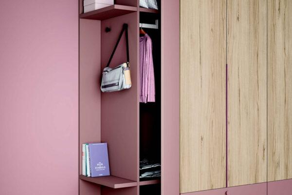 Armario de dormitorio juvenil 12f-0008 color rosa y madera vista completa