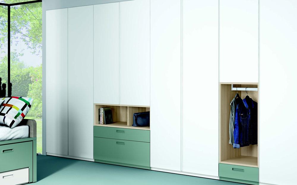 Armario de dormitorio juvenil 12b-0006 color verde y blanco vista de detalle